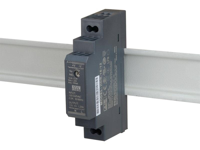 HDR-15-12 Zasilacz na szynę DIN 12VDC/1,25A