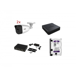 Zestaw monitoringu - 2 kamery IP + Rejestrator + Switch + Dysk